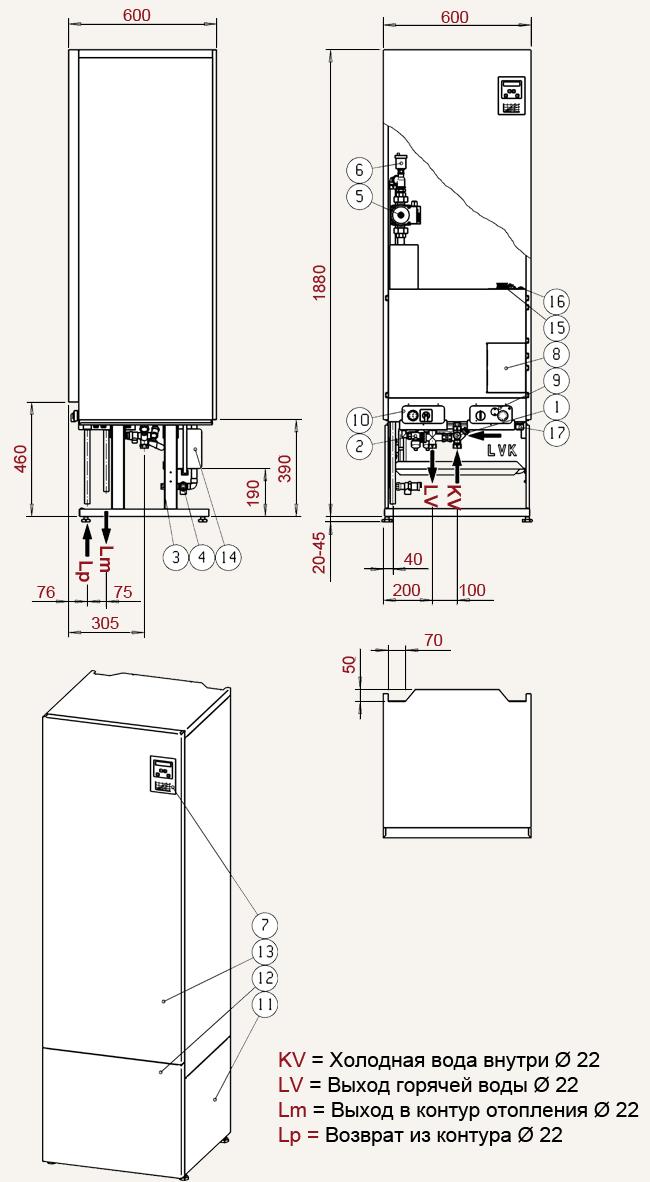 Габаритные размеры и комплектация электроотопительного  котела Tehowatti