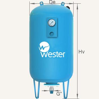 Основные технические характеристики расширительных баков для отопления Wester Line WAV объемом 50, 80 литров
