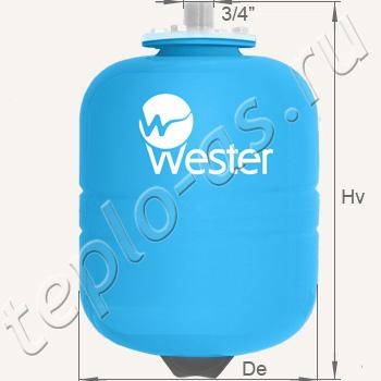 Основные технические характеристики расширительных баков для отопления Wester Line WRV объемом 8, 12, 18, 24, 24, 35 литров