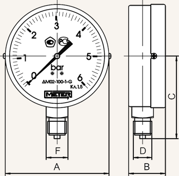 Габаритные размеры манометра общетехнического МЕТЕР ДМ-02