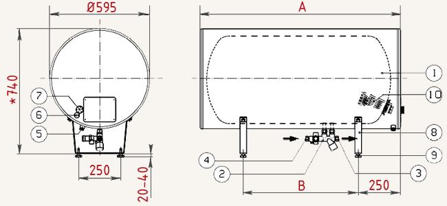 Габаритные размеры Водонагревателей JASPI-VLS